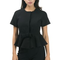 Peplum Jacket W/ Bow