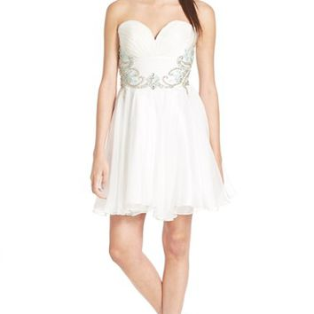 Junior Women's Mac Duggal Embellished Strapless Skater Dress,