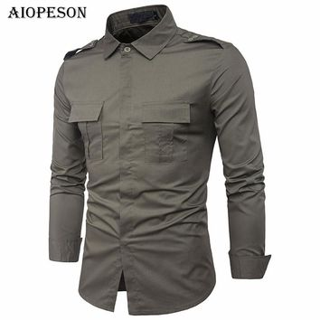 AIOPESON Long Sleeve Men's Tactical Military Shirt