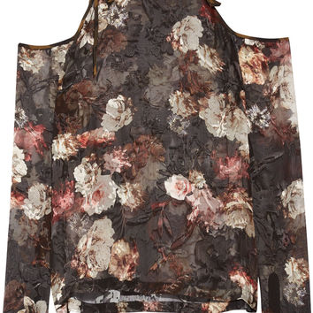 Preen by Thornton Bregazzi - Alva cutout devoré silk-blend chiffon blouse