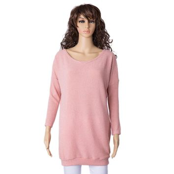 Elegant Boat Neck Solid Color Long Sleeve Loose-Fitting Sweater For Women