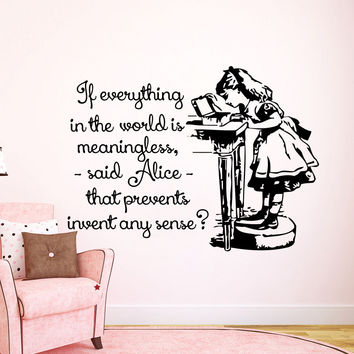 Quote Wall Decals Alice in Wonderland Decal Vinyl Sticker Nursery Bedroom LM197