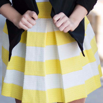 Yellow All Dolled Up Striped Skirt