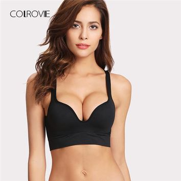 COLROVIE Black Sexy Bralette 2018 New Summer Half Cup Bras For Women Basic Plus Size Lingerie Widen Underwear Strap Intimates
