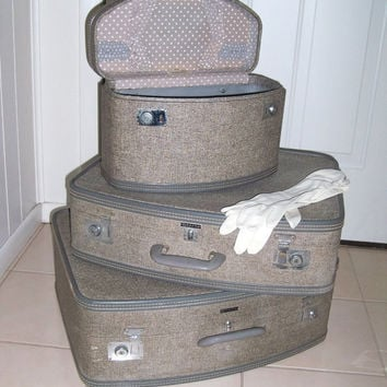Vintage 3 pc Wheary Luggage Set 1956 GREAT by MrsRekamepip on Etsy
