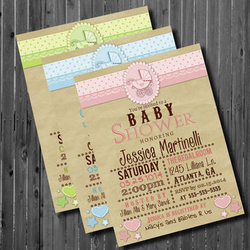 Baby Shower Invitation- Party Invitation-Printable-Rustic-Kraft Paper-Baby Carriage-Stroller-Vintage-Gender Neutral-Pink-Green-Blue