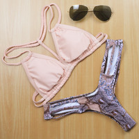 Sexy Halter Neck Bikini Set Retro
