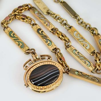 Antique Spinner Fob Locket Watch Chain Necklace
