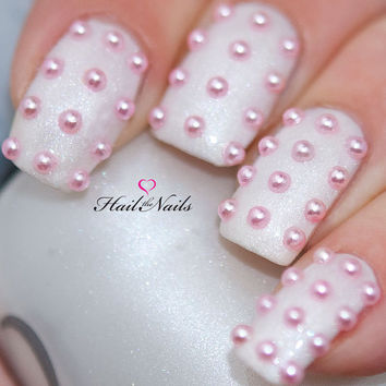 Pink Pearl Studs Nail Art - 150 pearls per pack.  Create salon professional nails in 5 minutes.YD027