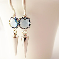 Montana Blue Faceted Glass Silver Spike Summer Trends
