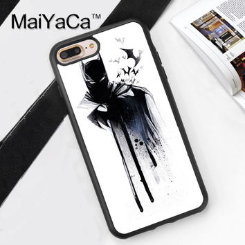 Batman Art Print Design Soft Rubber Phone Case Coque For iPhone 6 6S Plus 7 7 Plus 5 5S 5C SE 4 4S Back Cover Skin Shell