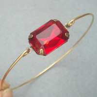 Red Cube Crystal Brass Bangle Bracelet by turquoisecity on Etsy