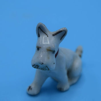 Miniature Japan Scottie Dog Figurine Vintage Ceramic White Scottish Terrier Dog Figure Mini Shadowbox Figurine Dog Lover Gift for Her