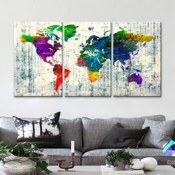 "LARGE 30""x 60"" 3panels 30x20 Ea Art Canvas Print Watercolor Map World Push Pin Travel M1814"