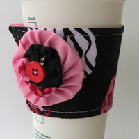 Animal Print Coffee Cup Cozy / Valentine's Day Drink Sleeve / Hearts / Leopard / Zebra