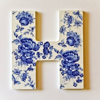 Wooden Sign Letter H - made in Israel Monogram Initial Home Decor - White Blue Floral