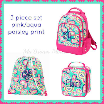 3pc Set - Monogrammed Paisley Backpack Lunch Gym Cinch Sack - Back to School - Pink Mint Backpack - Paisley Lunchbox - Drawstring Gym Bag