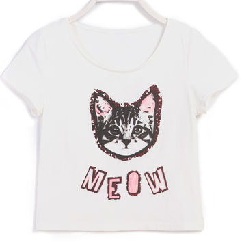 White Short Sleeve Cat Print Graphic Cropped T-Shirt