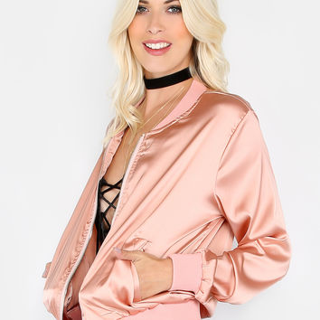 Silky Zip Up Bomber Jacket PINK | MakeMeChic.COM