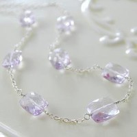 Pink Amethyst and Sterling Gemstone Necklace by livjewellery