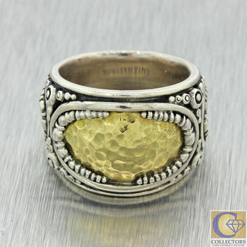 Konstantino 925 Sterling Silver 18k Solid Yellow Gold 16mm Band Ring 19.4g