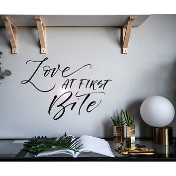 Wall Decal Love Romantic Quote Letter Love At First Bite z4930