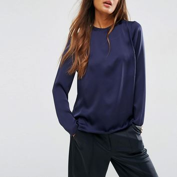 ASOS Minimal Satin Long Sleeve Top