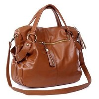 THG Fashion Lady Women Girl Casual Adjustable Clutch Tote Shoulder Purse Hobo Bag Messenger Handbags (Brown)