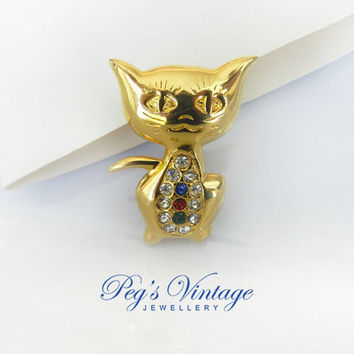 Vintage Gold Tone Cat Pin / Brooch, Rhinestone Kitty Cat Pin