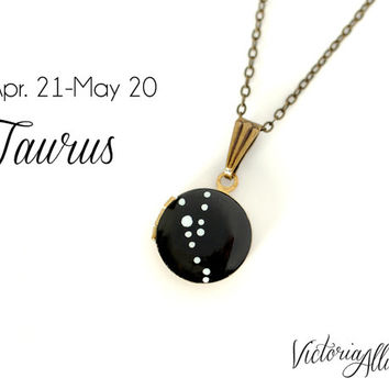 Taurus Constellation Locket, Zodiac Constellation, Hand Painted, Vintage Locket, April May Birthday, Taurus the Bull