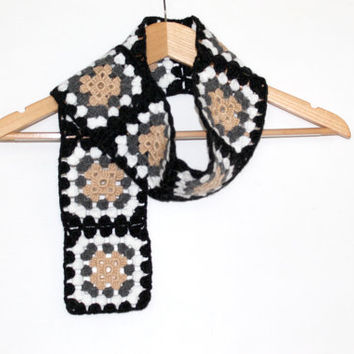 Granny Square Scarf / Brown - Black - Grey - White - cream / Valentines days / Mother's Day Gift