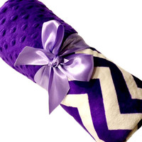 Lovey Size Purple and White Chevron Baby Blanket with Purple Dot Minky Back Personalization Included