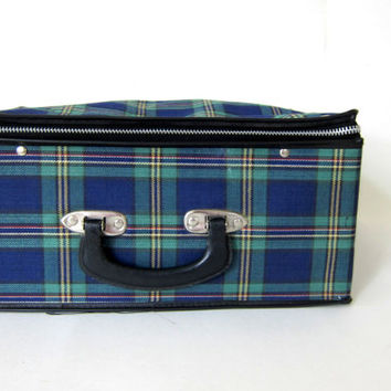 Vintage blue and green plaid small fabric suitcase