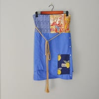 Upcycled Obi Style BeckyRose Wrap Skirt/ Blue and Gold Wrap Skirt/Kanji Patchwork Skirt/ Petite to Plus