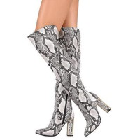 Sexy White & Black Illusion Snake Over The Knee Dress Boots