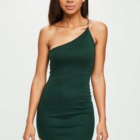 Missguided - Green Asymmetric One Shoulder Dress
