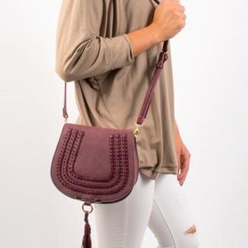 Chelsea Braided Cross body Bag - Burgundy