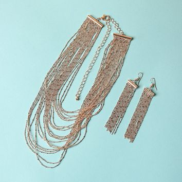 Layered Chains Statement Necklace And Earrings Set