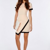 CREPE SHORT SLEEVE ASYMMETRIC BODYCON DRESS BABY PINK