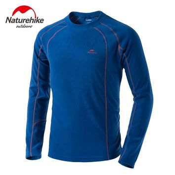 Naturehike Men's Thermal Undershirt Winter Thickened Base Layer Polar Sport Fleece Sweat Thermo Men Clothing Underwear T-shirt