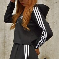 Adidas Classic Three Stripe Black Cropped Hoodie