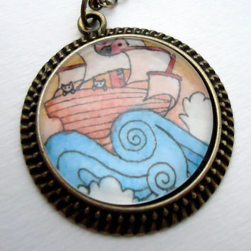 Kitty Cat Pirate Necklace  Hand Painted Pendant by cellsdividing