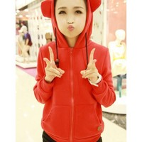 Red Hoodie Autumn Long Sleeve Hood Women Cotton One Size @WH0278r $10.99 only in eFexcity.com.