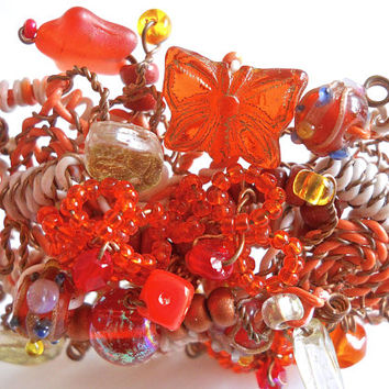 Orange Beaded Wire Brooch, Art Glass, Butterfly & Star, Vintage