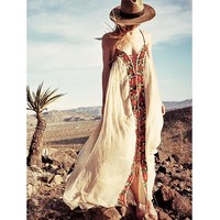 sexy boho maxi dress Vintage cotton floral embroidered white Summer dresses spaghetti strap women dress Vestido Robes