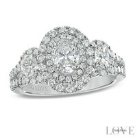 Vera Wang LOVE Collection 1-1/2 CT. T.W. Oval Diamond Three Stone Engagement Ring in 14K White Gold - View All Rings - Zales