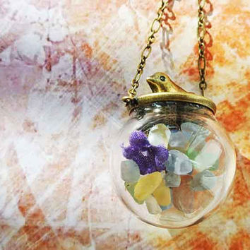10 SALE Necklace Birds and Flowers Natural Gravel by timegemstone