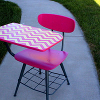 ReFinished Old School Desk Hot Pink, Grey & Neon Yellow Chevron Stripped FREE SHIPPING is USA on Greyhound