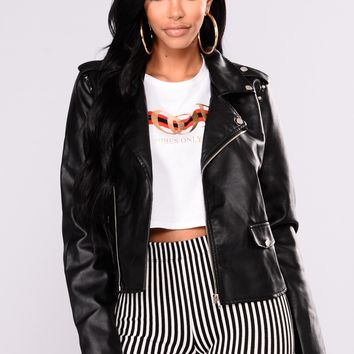 Equal Power Faux Leather Jacket - Black