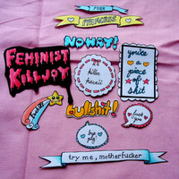 speak up sticker pack - cute/kawaii pink, blue, and yellow feminist sayings stickers